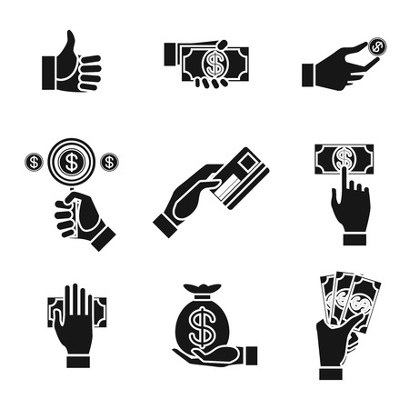 Set of nine different black and white silhouette icons of hands holding money with dollar banknotes  bills  coins  money bag and credit card   vector illustration conceptual of finances and payment Vector