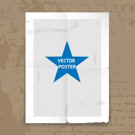 folded paper: Grunge tattered folded poster template with crease lines and a central star hanging on a wall  vector illustration Illustration