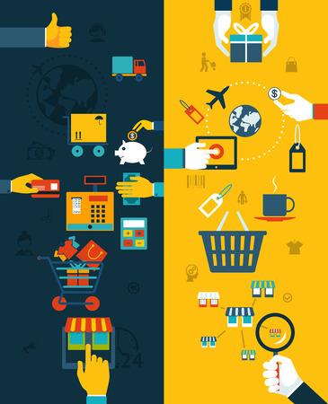 caja registradora: Concepto de compras Banners. Proceso de compra, desde la selección hasta la entrega