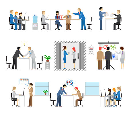 Illustrations of people working in an office with groups in meetings conference call centre lift presentation discussion brainstorming training handshake reaching an agreement and training