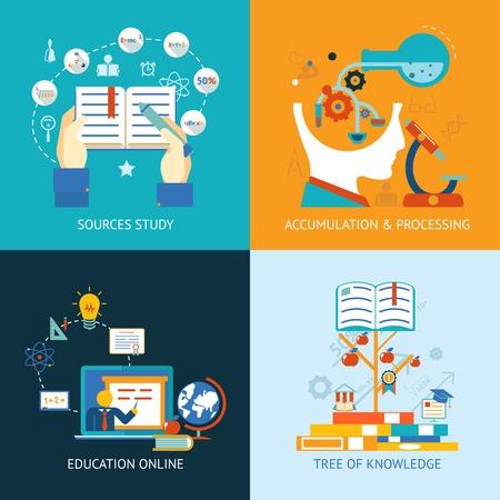 onderwijs, online leren en de boom der kennis iconen in vlakke stijl