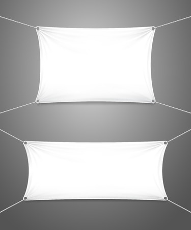 suspended: Two blank white textile banners with copyspace suspended by ropes by all four corners and stretched tight hanging suspended against a grey background