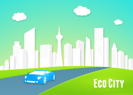 Eco city concept with a clean white urban cityscape of modern high-rise buildings and an eco-friendly efficient electric car driving into the lush green countryside along the highway