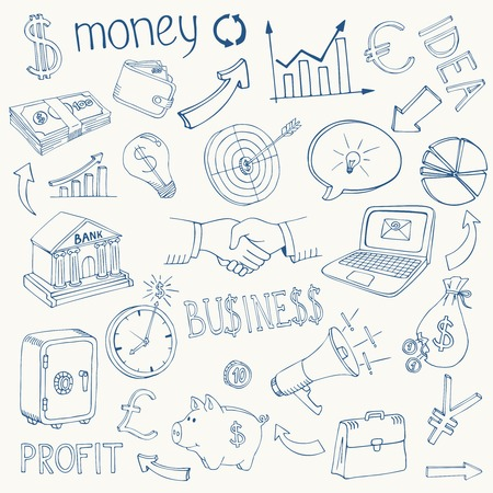 Set of black and white business and money infographic vector doodle sketch icons depicting  investment  savings  success  analytics  targets  planning  handshake  security and currencies Vector