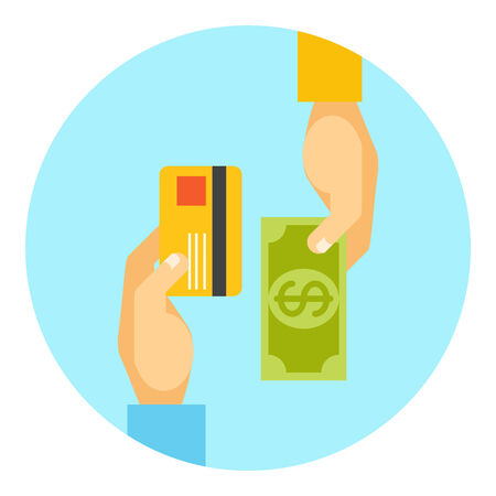 Hands exchanging payment or money in business concept with the hands of two men  one holding a bank card and the other a cash banknote  in a round icon  vector illustration Vector