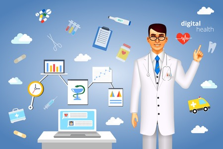 Digital health concept with a doctor standing alongside a laptop computer surrounded by assorted medical icons scattered amongst clouds representing a cloud computing database Vector