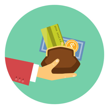 Colorful vector icon of the hand of a businessman giving a purse filled with money and a bank card in a concept of the granting of a financial credit or loan Illustration