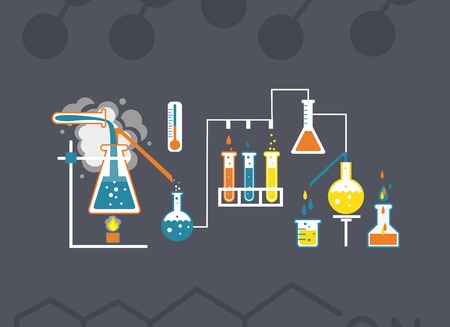 distillation: Chemistry infographics template showing various tests being conducted in laboratory glassware using colorful chemical solutions and reactions on a grey background conceptual of science and industry Illustration