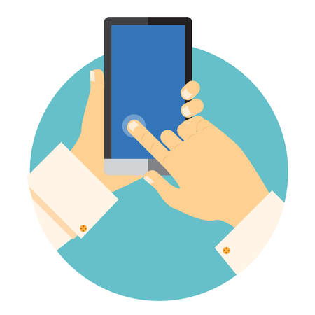 portability: Hands holding a mobile phone circular vector icon with one finger touching and activating a point on the blank touchscreen in a communications concept Illustration