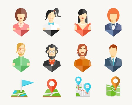 Vector people men and women avatar pins for map Vector