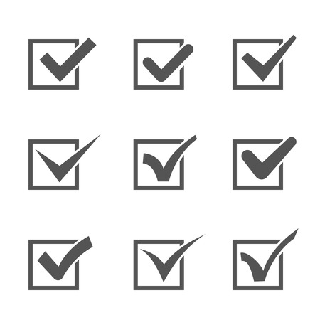 checked: Set of nine different grey and white vector check marks or ticks in boxes conceptual of confirmation  acceptance  positive  passed  voting  agreement  true or completion of tasks on a list Illustration
