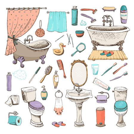 cisterna: Set de baño de vectores y la higiene personal iconos con bañeras de toalla de mano del espejo tocador cuenca de aseo cepillo de dientes de peine cepillo de tocador pato de papel ilustraciones dibujadas a mano