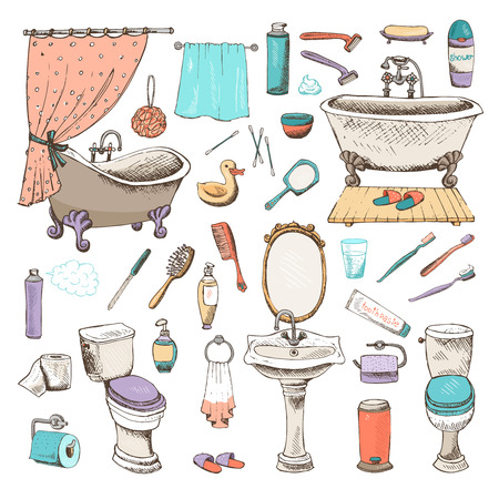 Set of vector bathroom and personal hygiene icons with bathtubs  towel  hand basin  toilet  mirror  toiletries  toothbrush  hairbrush  comb  duck  toilet paper  hand-drawn illustrations Illustration