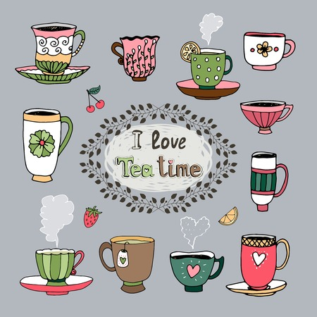 teatime: I Love Tea Time central cartouche with a foliate frame surrounded by a variety of cups of tea in different shapes and patterns  hand drawn vector illustration