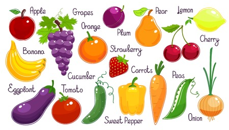 legume: Set of vibrant colorful vector fruit and vegetables  each labelled  with onion  carrot  eggplant  cucumber  sweet pepper  tomato  pea  grapes  strawberry  cherry  banana  pear  plum  orange and lemon