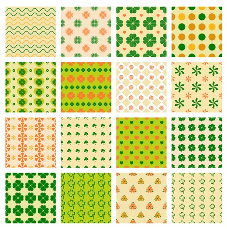 patron saint of ireland: vector seamless patterns set with clover for day of Saint Patrick