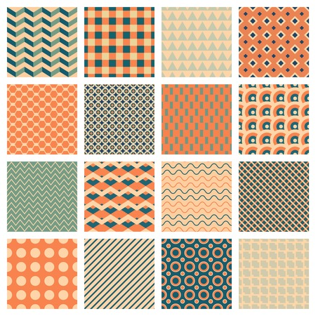 hues: vector backgrounds, 16 simple geometric seamless patterns
