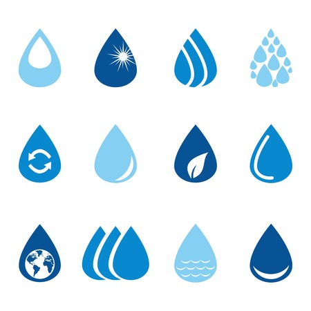 meteorological: Set of twelve different blue vector water drops with assorted internal icons of the sun  leaves  globe  water  sparkle and recycling in an environmental concept isolated on white