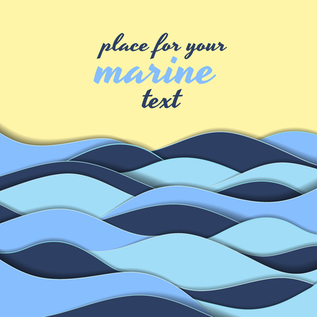 overlapping: Marine themed background of blue paper ocean waves on a golden seashore with copy space for your text in square format
