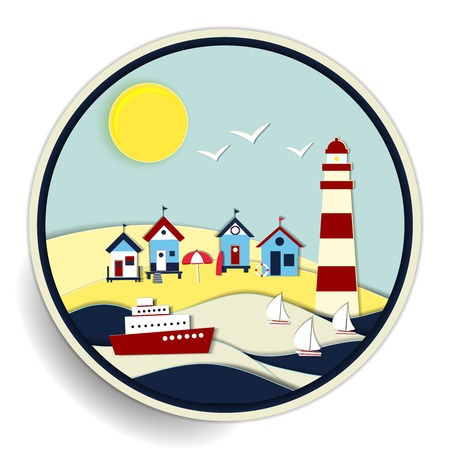Round vector badge with a colourful summer seascape with a striped lighthouse and huts on a golden beach and sailboats and a passenger cruise ship at sea on the waves Vector