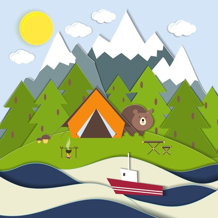 ecotourism: Vector landscape depicting a campsite and picnic on the shore of a mountain lake with a bear peeking around the tent at a fishing boat and snow-capped mountains