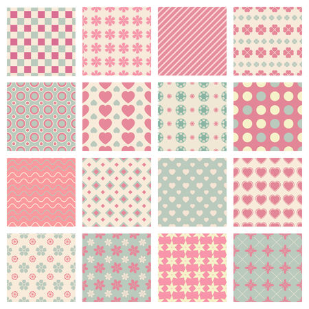 themed: vector cute and trendy vector seamless patterns for colored backgrounds Illustration