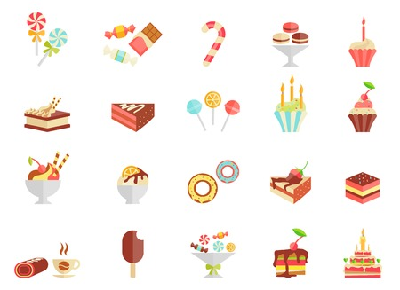 Cake candy and ice cream icons with assorted slices and wedges of cake cupcakes ice lolly ice cream sundae parfait doughnut coffee and a birthday cake vector illustration