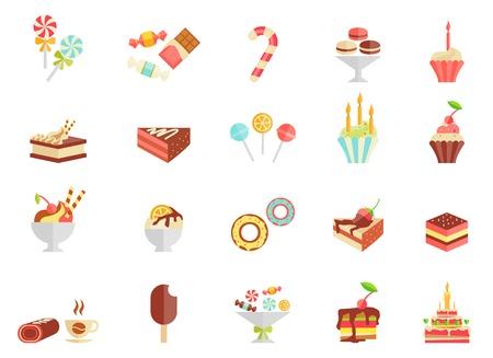 Kuchen Süßigkeiten und Eis-Icons mit verschiedenen Scheiben und Keile Kuchen Cupcakes Eis am Stiel Eis Eisbecher parfait Donut Kaffee und einem Geburtstagskuchen Vektor-Illustration Vektorgrafik