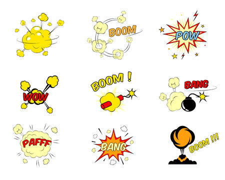 Set of colorful bright red and yellow comic cartoon text explosions depicting a boom  pow  wow  dynamite  bomb  bang  pafff  bang and ground explosion  nine vector illustration isolated on white Vector