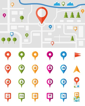public services: City map with a large set of colorful pin pointers each showing a different vector infographic urban location  utility or service icon  with the pointers isolated on white