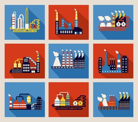 industria petroquimica: Conjunto de colorido vector edificios de la fábrica industrial y refinerías en fondos rojos y azules con largas sombras y las chimeneas que emiten contaminación por humo
