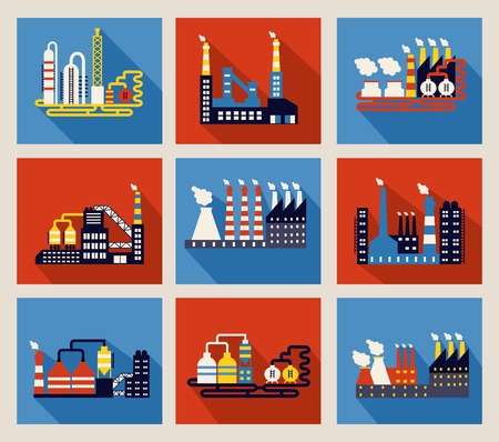 emitting: Set of colourful vector industrial factory buildings and refineries on red and blue backgrounds with long shadows and chimneys emitting smoke pollution