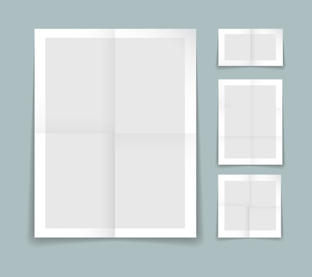 crease: Folded paper vector template with four different sheets of grey paper with white borders with fold or crease lines and blank copyspace for your text or advertising Illustration