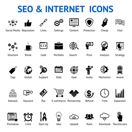 refund: Extensive set of 40 different silhouetted black and white SEO and internet icons for optimising a website on a computer each labeled below with text to show what it represents  vector illustration Illustration
