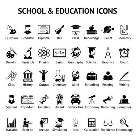 college class: Large set of 40 different black and white silhouette school and education icons on round web buttons each labeled below to show what it represents  vector illustration