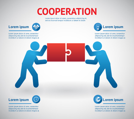 solving: Cooperation and teamwork template with two men fitting together pieces of a jigsaw puzzle conceptual of solutions and problem solving with four text areas with infographic icons  vector illustration Illustration
