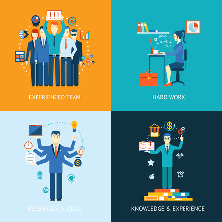 Flat design concept icons for teamwork and human resources, knowledge and experience Çizim