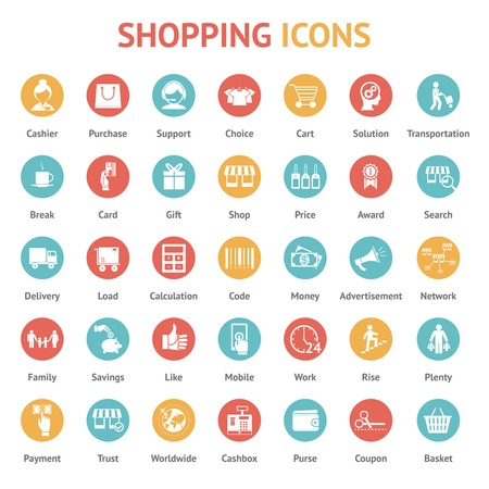 family shopping: Icons of purchase, payment and delivery on round buttons