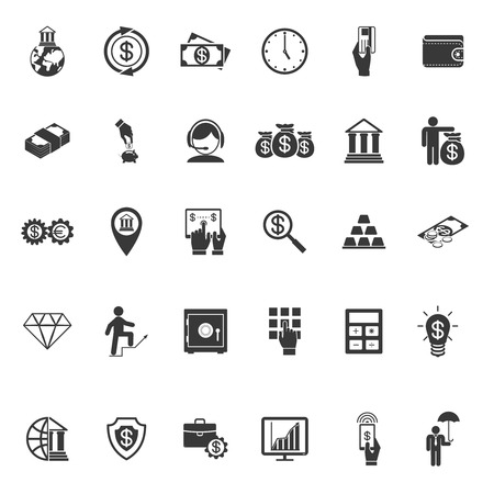 Large set of thirty different simple vector black and white silhouette money  banking  cash  business and finance icons Vector