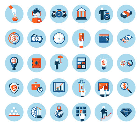 Large set of finance and banking icons in colored flat style on round blue web buttons depicting cash  currencies  payment  wealth  finances  banking  business and success Vector