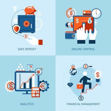 金融分析、オンライン バンキングおよび支払いのベクトル アイコン制御の概念
