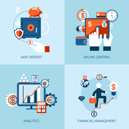 Vector icons of financial analytics, online banking and payment control concepts Vector