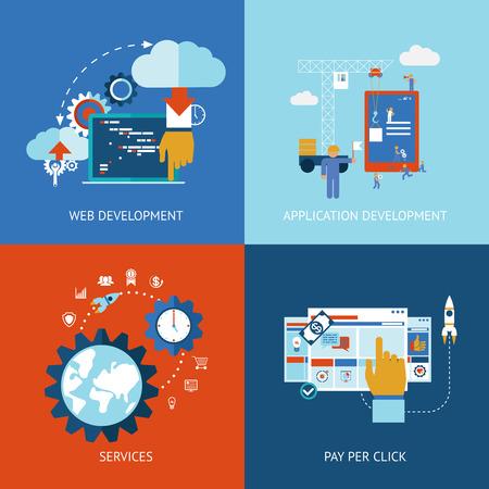 emprendimiento: Iconos del vector de los conceptos web y desarrollo de aplicaciones en aplicaciones de estilo plano
