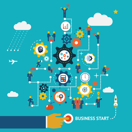 competitive business: Business start infographics template. Scheme with humans, icons and gears