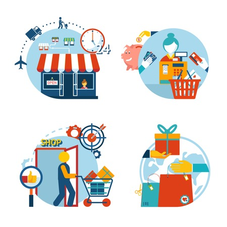 Set of four flat style vector shopping icons depicting a a store front  customer shopping  checkout with cashier   gift purchase and delivery Vector