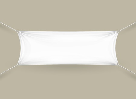 stretched: Blank white fabric rectangular horizontal banner with ropes attached to each corner pulling it tight against a grey wall with folds and creases  copyspace for your text