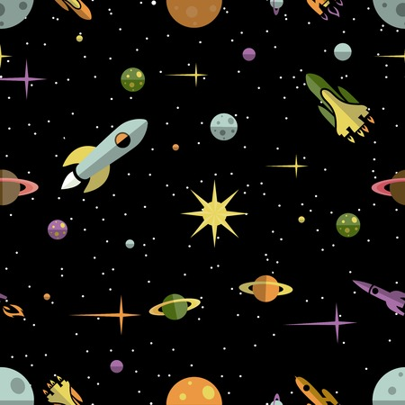 Seamless background pattern with colorful planets  rockets and stars in outer space on a black background conceptual of exploration  fantasy  the future and the universe  square vector illustration