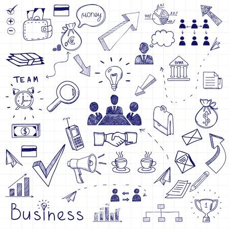 business doodles seamless pattern background  Illustration