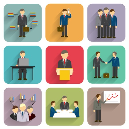 business people in flat style. Meeting, conference and presentation icons Vector