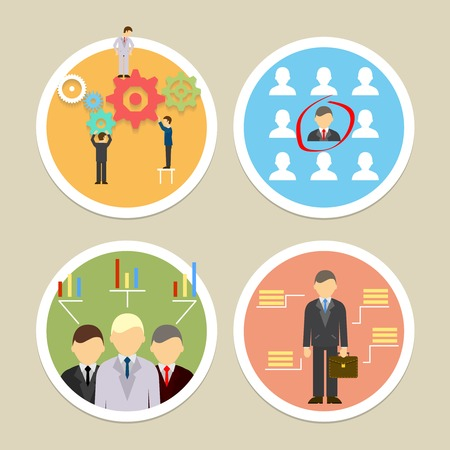 human resources icons. Selecting business professionals and personnel Illustration